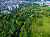 Vue aérienne du parc des Beaumonts - crédit : Est Ensemble / DCOMDRONE