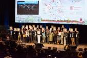 Remise du label Cap Cit'ergie à Est Ensemble par Arnaud Leroy, Président de l'Ademe, à l'occasion des assises de la transition énergétique du 30 janvier à Bordeaux - photo : Stanislas Ledoux / Hans Lucas